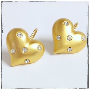 Gold Tone Puffy Hearts With Crystals Drop Earrings